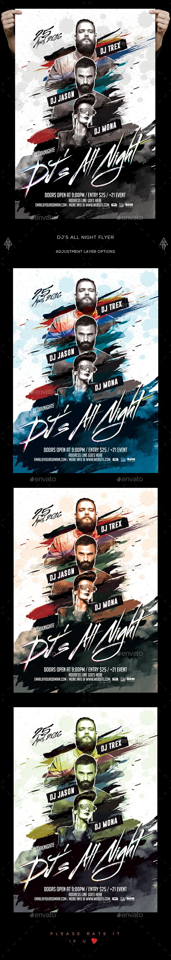 Dj's All Night Flyer  — PSD Template #futuristic #music • Download ➝ https://graphicriver.net/item/djs-all-night-flyer/18468289?ref=pxcr