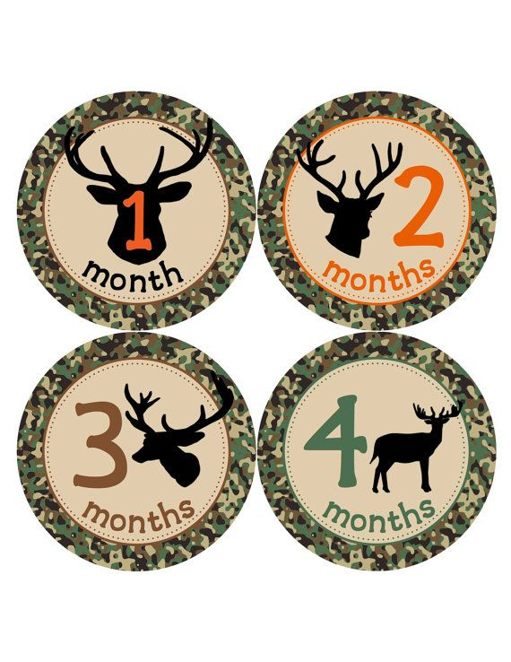 Baby Boy Month Stickers Camo Deer Antler Hunting by BuddhaBellies