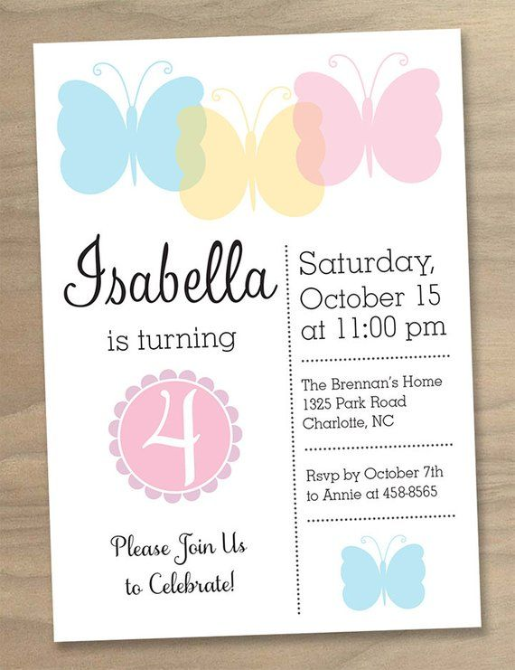 Girls Butterfly Party Birthday Invitation