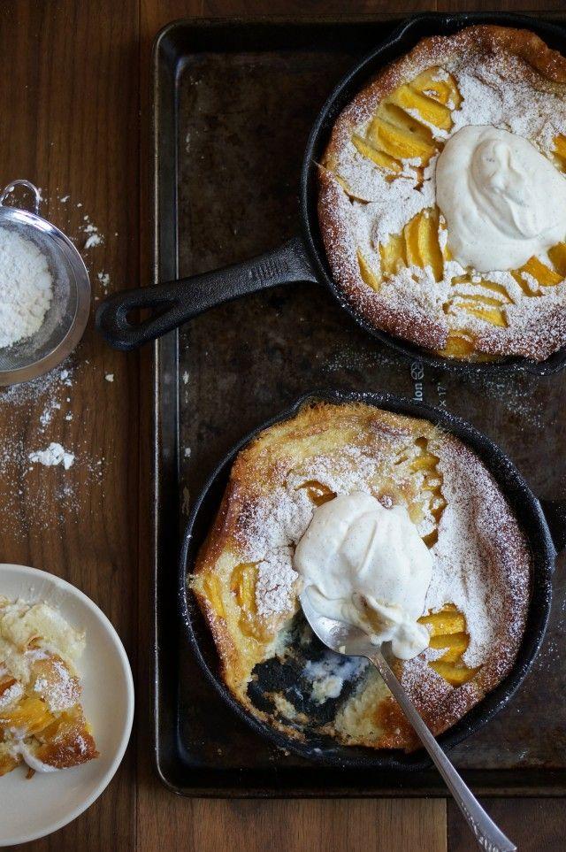 Peach clafoutis and vanilla creme fraiche