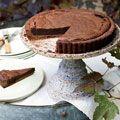 chocolate bourbon tart....This rich tart is like a dark-chocolate truffle in a crisp, flaky cocoa crust. Bourbon adds a wonderful smokiness