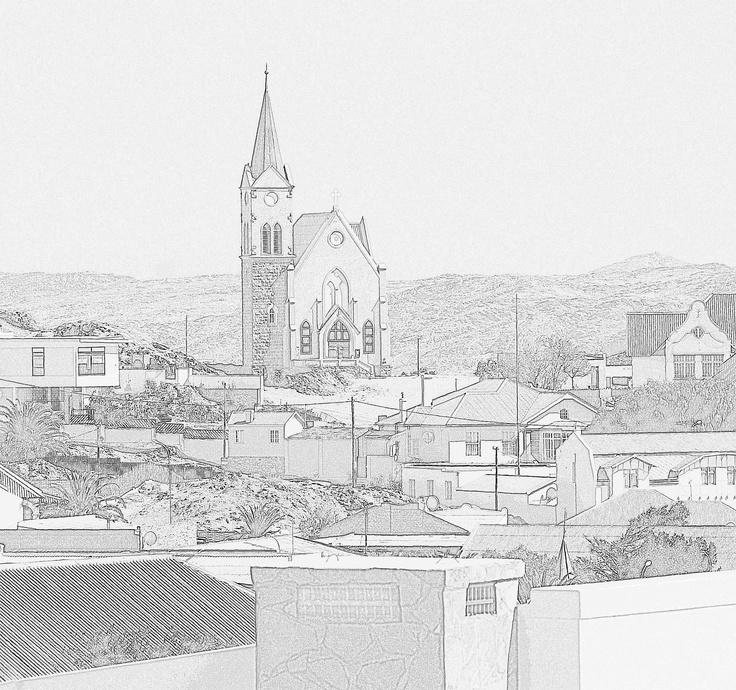 Luderitz, Namibia pencil sketch version of a photo of its famous church.