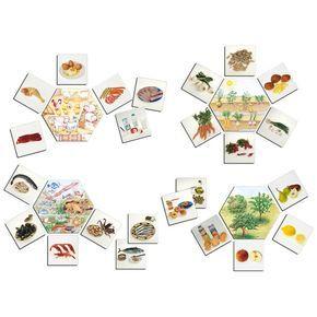 ¿De donde vienen los alimentos?, Juego de asociación para aprender a clasificar los alimentos según su origen: de las raíces de las plantas (patatas), de plantas y arbustos (tomates), de los árboles (manzanas), del mar (pescado), y de los animales (huevos, carne, etc). El juego compuesto por 5 fichas hexagonales (5 contextos del origen de los alimentos) + 30 fichas (7,5 x 7,5 cm) de alimentos.  Desde 19,89€