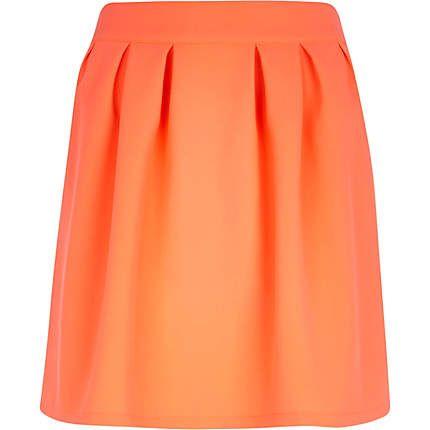 Bright orange pleated mini skirt £10.00
