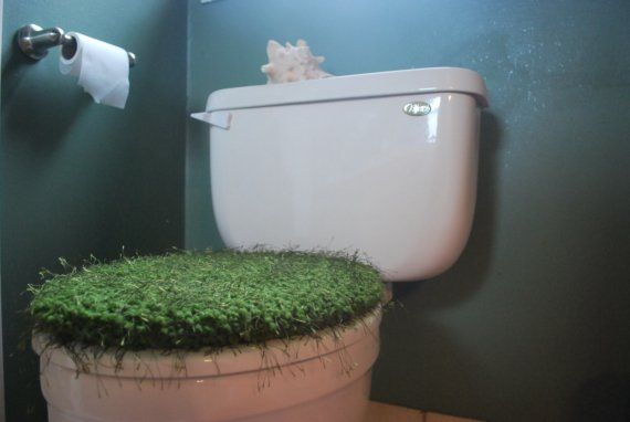 Hand Knit Moss Green Toilet Seat Cover with Drawstring - very strange
