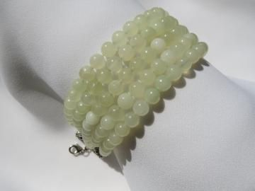 New Jade Bracelet - Seafoam Green -Statement Jewelry -  Multi Strand - Pale Chinese Jade - Cuff Like - 5 Rows - Ready to Ship B095
