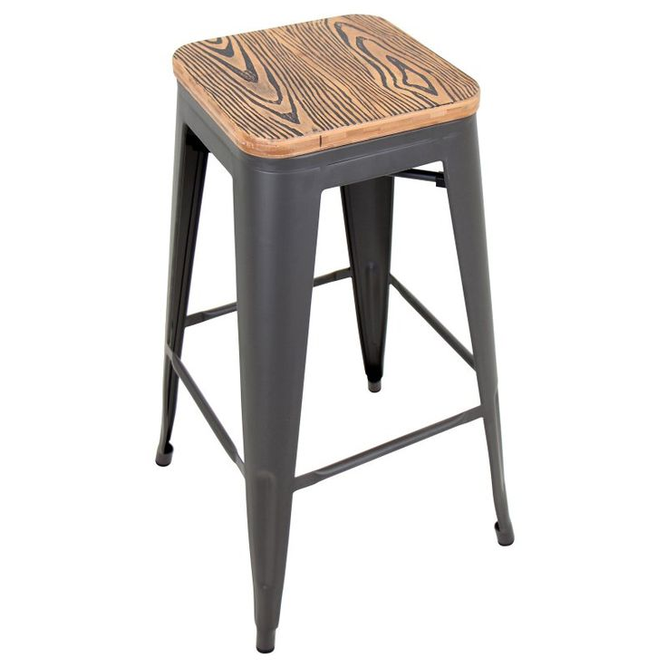 LumiSource Oregon Pub Stools - Set of 2 - BS-TW-OR BN+GY2