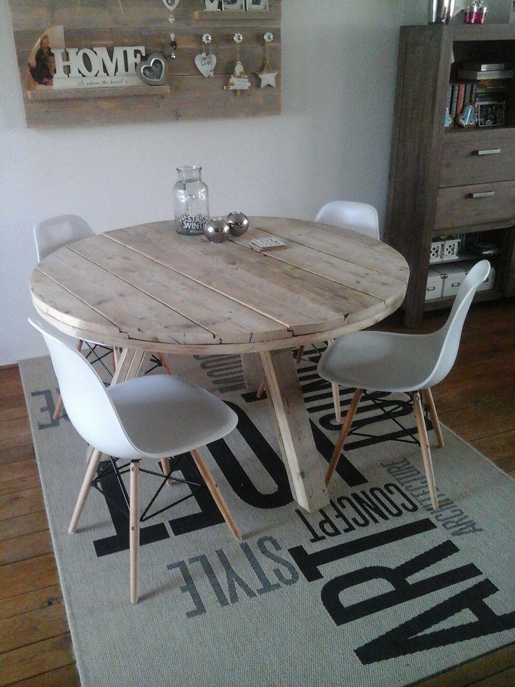 Ronde tafel oud steigerhout 130cm oud steigerhout