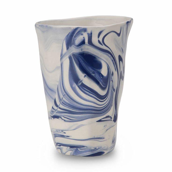 Marbled Ceramic Cup in Blue