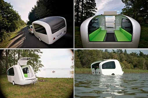 Sealander is a lightweight fiberglass trailer that's half camper, half electric boat. It couldn't be easier: just pack up your outdoor gear, hitch the camper to your car, drive down to the lake, and set sail (inland waters only for now.)
