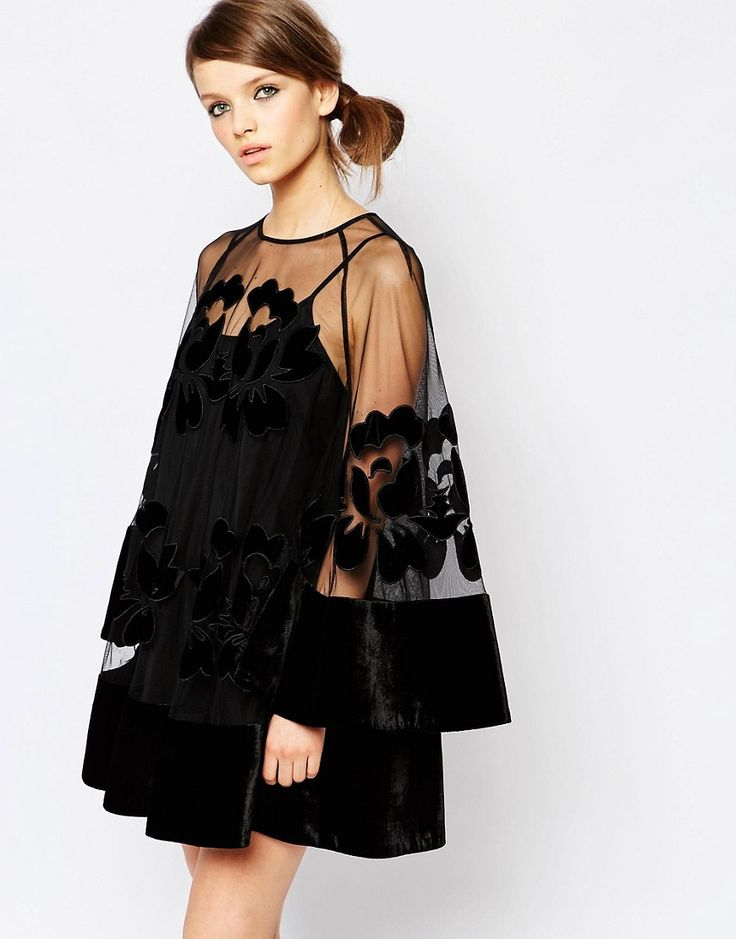 Image 1 of Alice McCall Bell Sleeve Mini Dress with Sheer Insert