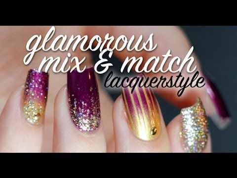 Glamorous Mix & Match Nail Art Tutorial   Lacquerstyle OPI Diva of Geneva Julep Felicity Color Club Gingerbread