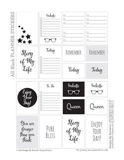 All Black FREE Printable Planner Stickers
