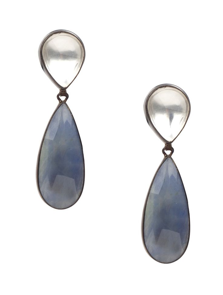 Buy Silver Blue Sapphire Drop Earrings Jewelry Soirée in Naturally Found Precious Stones Online at Jaypore.com