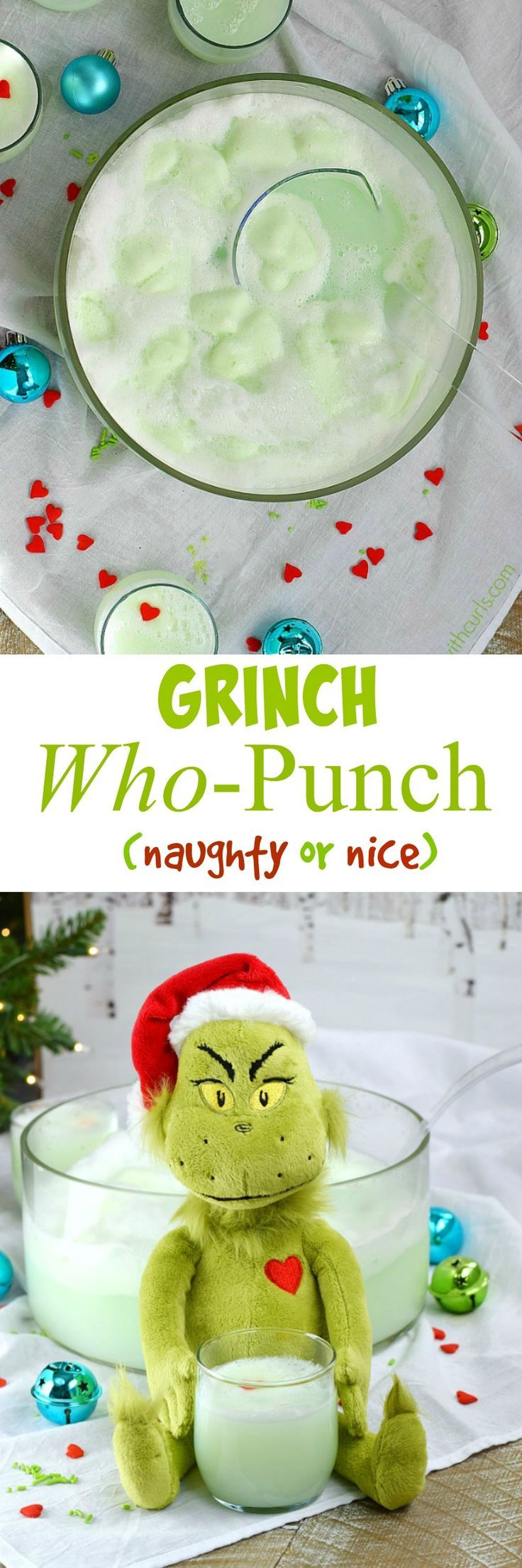 Are your party guests naughty or nice? You get to decide when you make this Grinch Who-Punch for your next holiday party. It's super easy to make and your guest will love it | cookingwithcurls.com