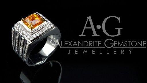 Orange Yellow Sapphire Men Ring  Alexandrite Gemstone &  Jewellery