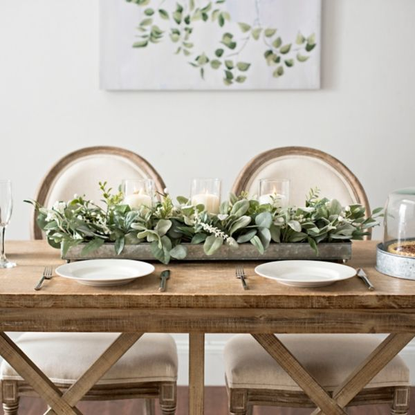 Green Eucalyptus Galvanized Centerpiece Dining Room Table