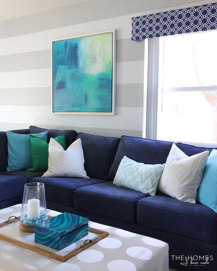 Navy & Turquoise Family Room Reveal