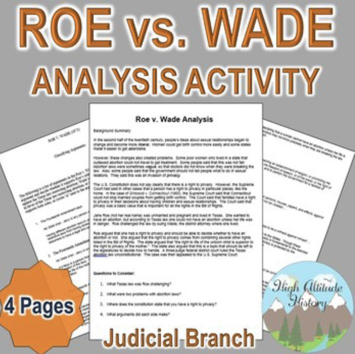 Roe Vs Wade Analysis Judicial Branch Criminal Law Civics Government Studying Law Homeschool History Curriculum Teacher Blogs