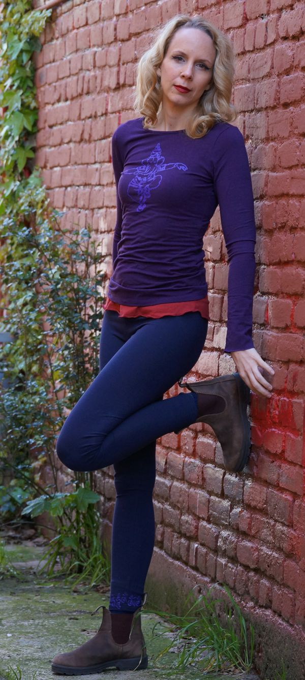 Plum Bamboo Long Sleeve Tee with Dancing Ganesh from Squeezed Yoga Clothing http://squeezed.ca/shop/plum-bamboo-long-sleeve-tee-with-violet-dancing-ganesh