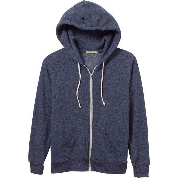 Adrian Eco-Fleece Zip Hoodie ($54) ❤ liked on Polyvore featuring tops, hoodies, fleece hoodie, light weight hoodie, zipper hoodies, hooded sweatshirt and zipper hoodie