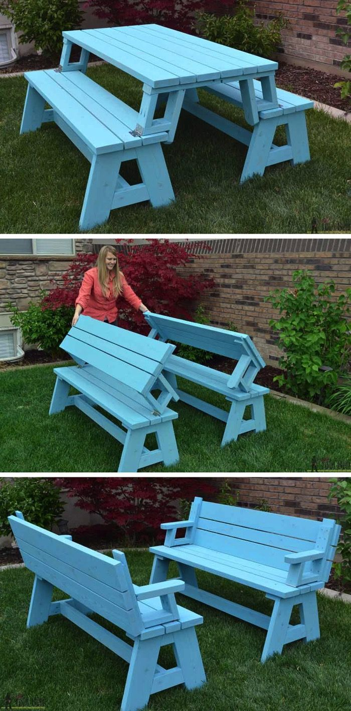 DIY foldable picnic table that turns into benches Love this look. Makes enough room for everyone to sit and also to eat.