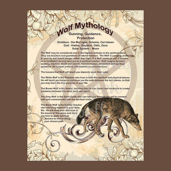 WOLF MYTHOLOGY, Book of Shadows Page - Rowan Morgana