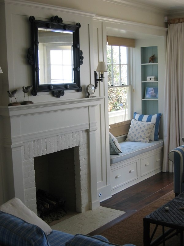 A built in window seat for dining room bay window.