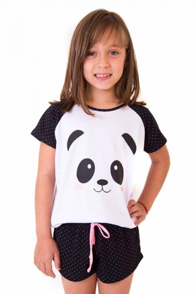 966b3e1736 Pijama Curto Feminino Infantil- Panda