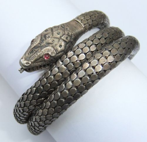 Whiting & Davis braceletCuffs Bracelets, Snakes Cuffs, Davis Gold, Antiques White, Wash Sterling, Gold Wash, Snakes Bracelets, Sterling Silver, Silver Snakes