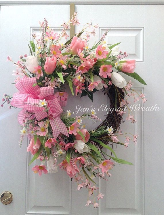 Pink Spring Wreath. Easter Wreath. Mother's by JansElegantWreaths