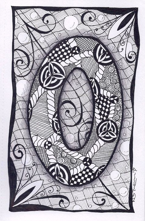 Zentangle, Letter O, Zebra Letters, name, bunting
