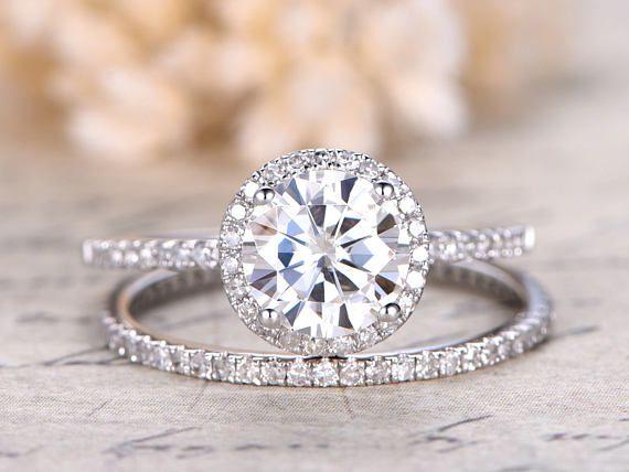 Moissanite Ring 1.50 Ct Colorless Moissanite Bridal Set Wedding Ring With 18KT White Gold Ring