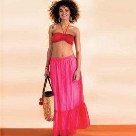 Deze charmante maxirok is de ultieme strand-look. Leuk over je bikini te dragen of met een korter topje.