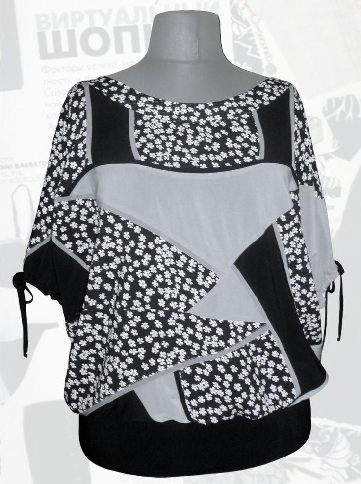 38$ Летняя блузка свободного покроя для полных девушек Артикул 675, р50-64 Блузки свободного кроя большие размеры Трикотажные блузки большие размеры  Блузки нарядные большие размеры  Блузки дизайнерские большие размеры  Блузки с коротим рукавом большие размеры
