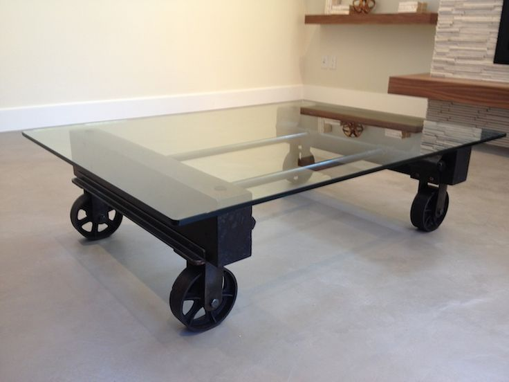 Glass Coffee Table Using Steel Casters Industrial Remnants Gas Pipes And Reclaimed