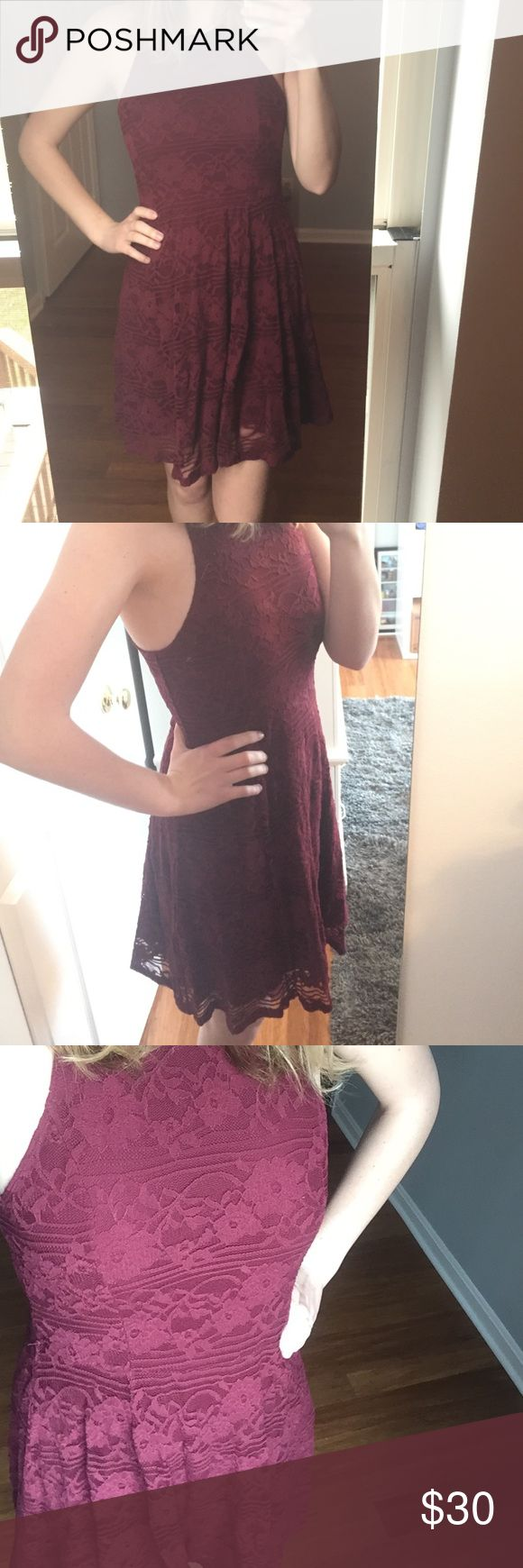 Maroon Abercrombie and Fitch dress Perfect condition, only worn once, lace maroon dress. Perfect for date nights or special occasions. Abercrombie & Fitch Dresses