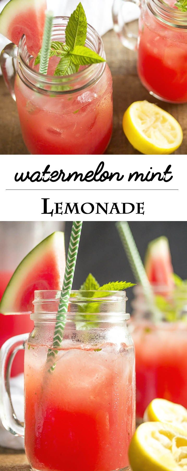 Watermelon Mint Lemonade - Watermelon mixed with lemonade and spiked ...