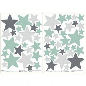 Wandtattoo Sterne: Wandgestaltung im Kinderzimmer – Mint/Grau