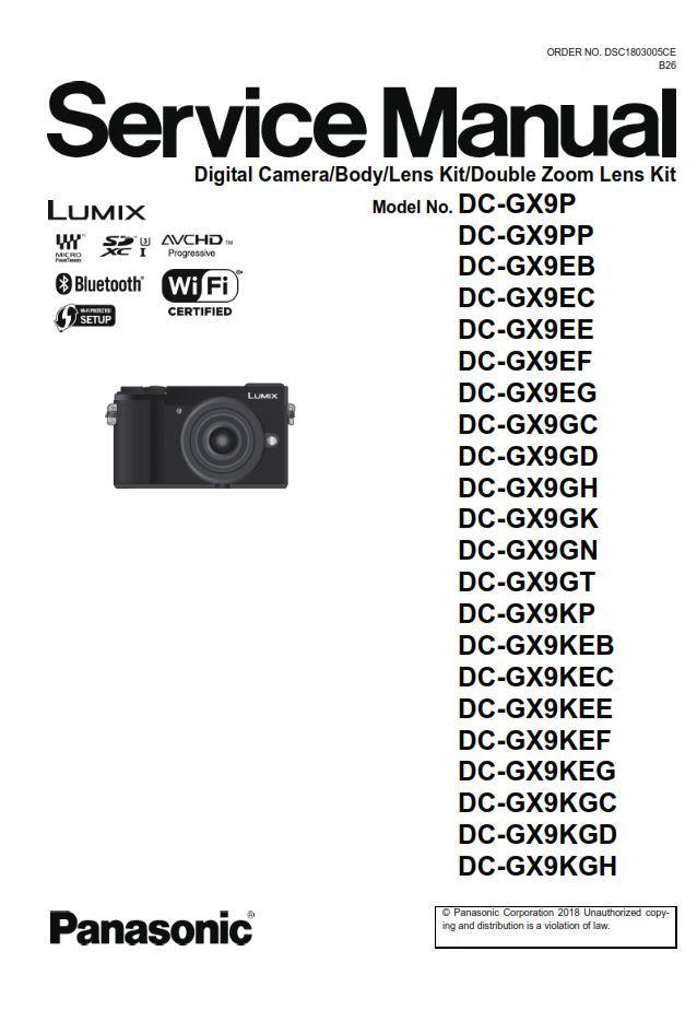 Panasonic Lumix Dc Gx9 Gx9k Gx9h Gx9p 4k Camera Service Manual Panasonic Lumix Panasonic Manual
