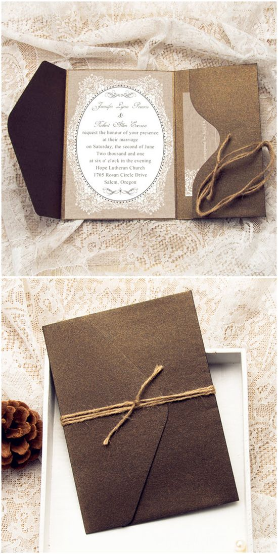 affordable rustic burlap pocket wedding invitations with