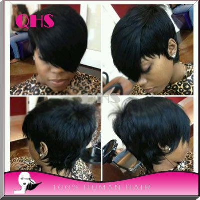2015 7A chất lượng Bob Full tóc giả cho phụ nữ da đen con người tốt nhất tóc tóc giả NGẮN LACE Wigs với bé tóc knots tẩy vận chuyển nhanh