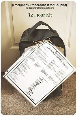 Emergency Preparedness for Couples... with limited storage and money! (includes ideas for 72 Hour Kit and 2 Week Supply, and free printables)    I didn't use her printables, but some of her ideas for food are good. Our bags are mostly done, I just want to add a steno burner or two. I decided to make two bags, to split the weight up between us and give more room for water, food, etc.