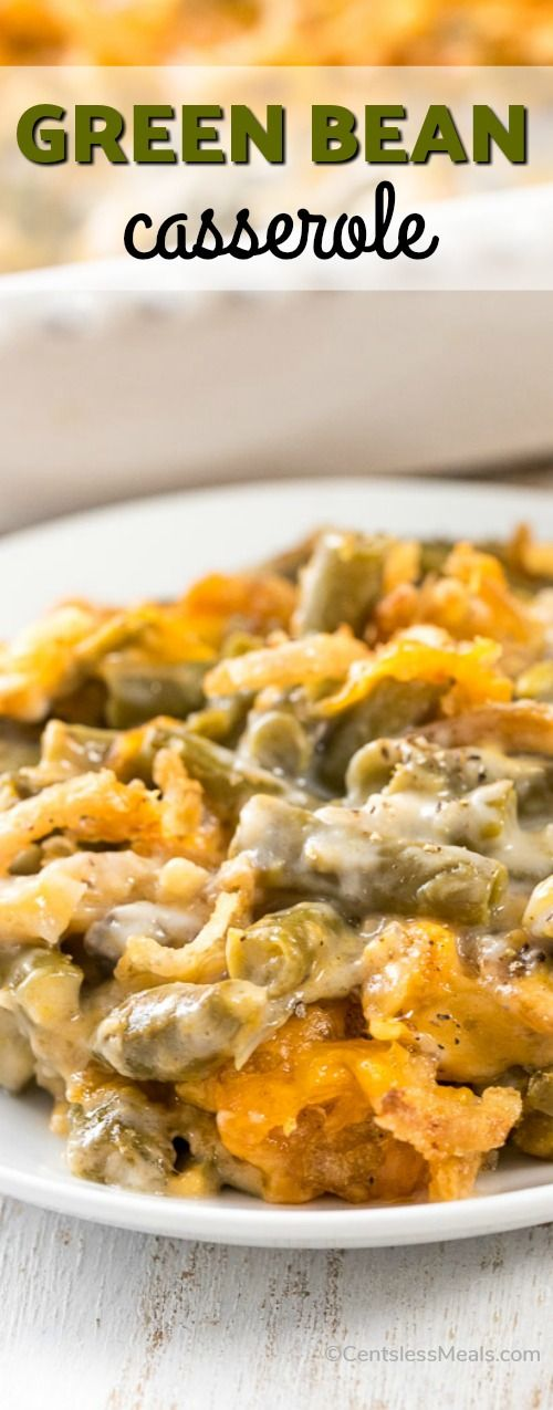 This Classic Green Bean Casserole features tender green beans in a creamy cheesy mushroom sauce and is crowned with crispy fried onions. #Casserole #GreenBeanCasserole #MushroomSoup #Snack #SideDish #Holidays