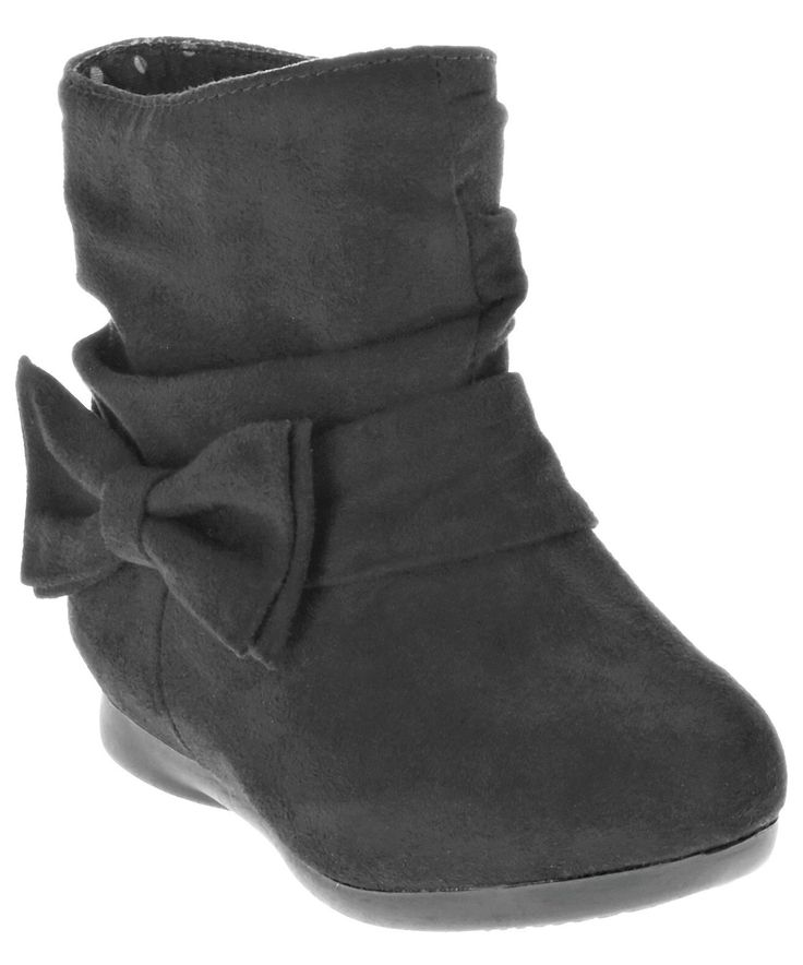 """Garanimals Stylish """"SLOUCH BOOTS WITH BOW"""", Toddler Girls, Sz. 6, Blk. Garanimals Stylish toddler girl slouch boots. side bow (outer). Black Faux suede outer. 100% polyester upper; 68.88% polyester, 31.12% TPR outsole. zipper closure (inner)."""