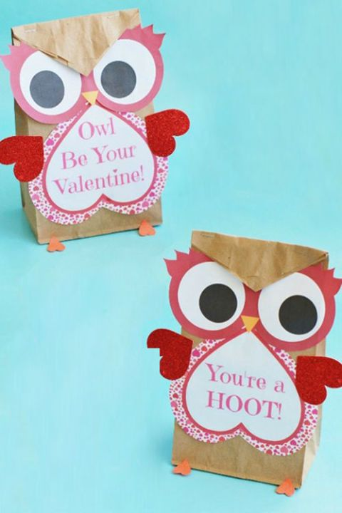 Valentine Owl Craft Best Valentine's Day Crafts for Kids This valentine treat is perfect for your kid's classroom. They'll need something to balance out all of that sugar! Check out the full instructions and print the cutouts for this craft at kitchenfunwithmy3sons.com.  Shop the supplies:  1. Small Brown Paper Bags, $7, amazon.com  2. Assorted Mini Glitter Heart Cutouts, $6, amazon.com  3. White Cheddar Smartfood Popcorn, $3, amazon.com  JILL MILLS