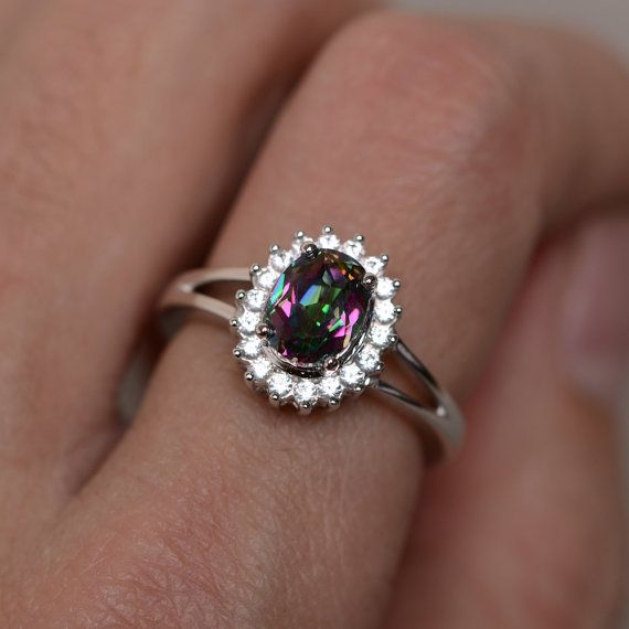 Mystic Topaz Ring Silver Rainbow Gemstone Ring by KnightJewelry