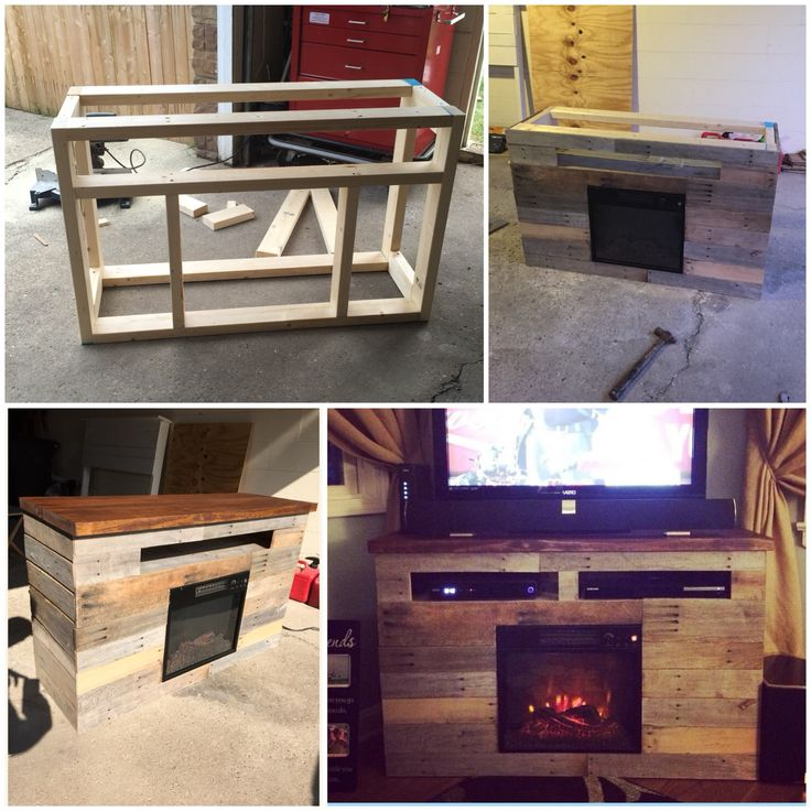 DIY Electric Fireplace TV Stand Entertainment Center Pallet Skid