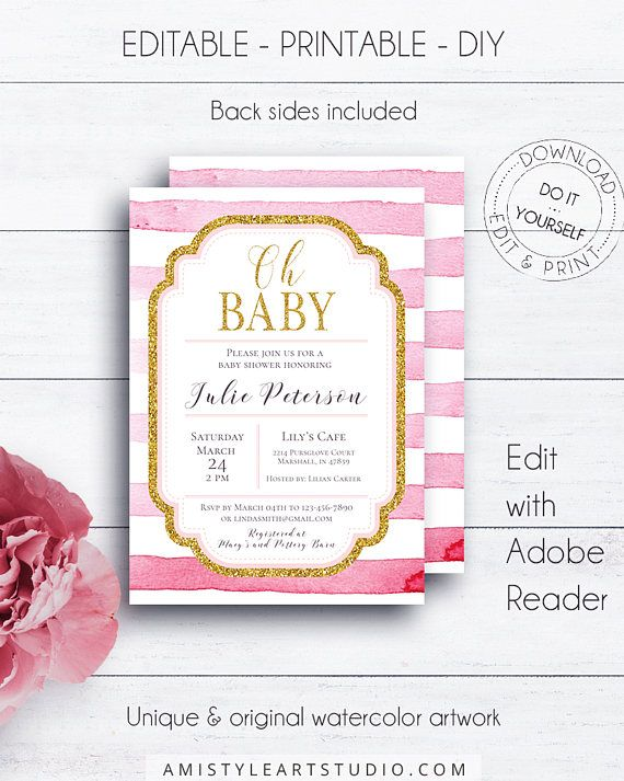 217 best baby shower images on pinterest baby shower nio fiesta striped shower invitation pink and gold striped invitation baby shower shower invitation striped baby shower pink girl shower oh baby solutioingenieria Choice Image