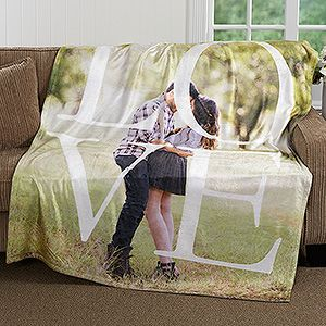Buy our personalized fleece photo blankets with our LOVE design and add any photo. Free personalization & fast shipping.